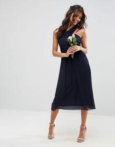 Сетчатое платье миди на одно плечо со сборками ASOS WEDDING - Темно-синий