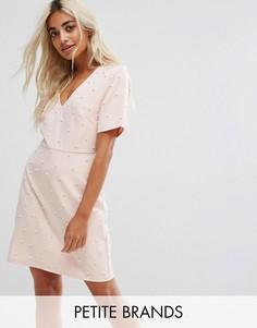 Платье с искусственным жемчугом Fashion Union Petite - Розовый