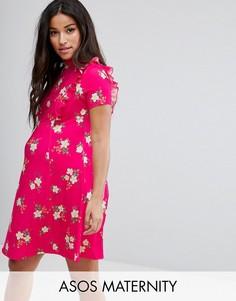 Чайное платье мини с открытой спиной и оборкой ASOS Maternity - Розовый