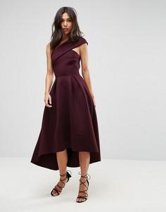 Приталенное платье миди на одно плечо с удлиненным кроем сзади ASOS - Фиолетовый