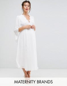 Платье миди с кружевом и рукавами кимоно Queen Bee Maternity - Белый