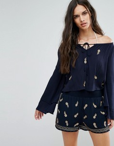 Топ с открытыми плечами и вышивкой ананасов Missguided - Темно-синий