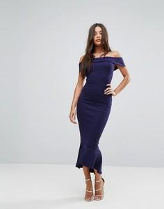 Темно-синее платье макси с открытыми плечами Lipsy - Темно-синий