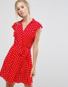 Платье-рубашка в горошек с оборкой Pearl - Розовый