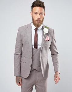 Розовый пиджак узкого кроя из ткани с добавлением шерсти и принтом гусиная лапка ASOS Wedding - Розовый