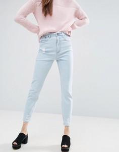 Выбеленные узкие джинсы в винтажном стиле с необработанным краем ASOS FARLEIGH - Синий
