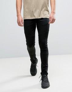 Черные супероблегающие джинсы с отделкой в байкерском стиле ASOS - Черный