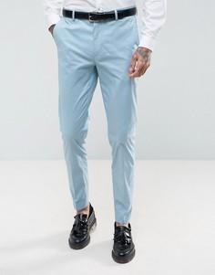 Голубые зауженные брюки из эластичного хлопка ASOS WEDDING - Синий