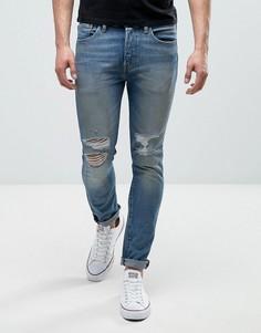 Выбеленные джинсы скинни с рваными коленями Levis 501 - Синий Levis®