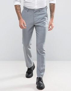 Светло-серые узкие брюки из 100% мериносовой шерсти ASOS WEDDING - Серый