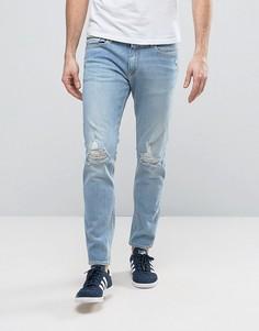 Светлые джинсы скинни с прорехами Calvin Klein Jeans - Синий