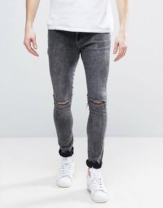 Рваные джинсы с эффектом кислотной стирки Brooklyn Supply Co - Синий