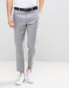 Серые зауженные укороченные брюки из ткани с добавлением льна ASOS - Серый
