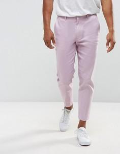 Укороченные брюки скинни из ткани с добавлением льна ASOS - Фиолетовый
