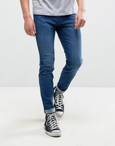 Синие выбеленные супероблегающие джинсы Rollas Stinger - Синий Rollas