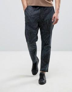 Суженные брюки с добавлением льна и принтом листьев ASOS - Темно-синий