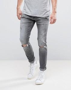 Серые джинсы скинни с рваными коленями Replay - Серый