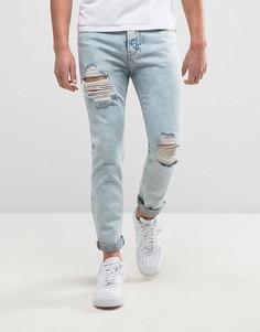 Голубые супероблегающие джинсы с эффектом кислотной стирки SikSilk - Синий