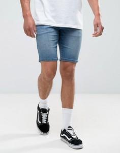 Ярко-синие выбеленные облегающие джинсовые шорты Tommy Hilfiger Denim - Синий