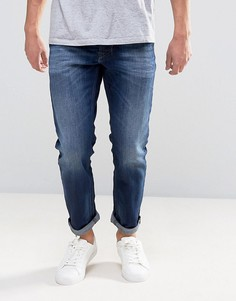 Суженные книзу джинсы с эффектом потертости Diesel Larkee Beex 860L - Синий