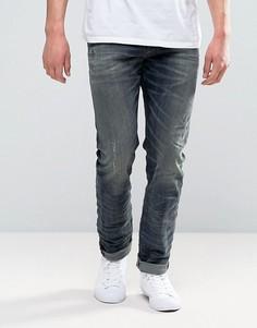 Выбеленные эластичные джинсы слим Diesel Buster 845S - Синий