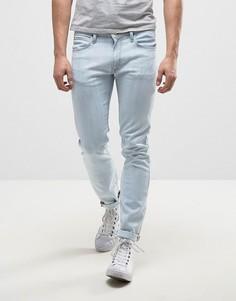 Голубые выбеленные джинсы скинни Lee Luke - Синий