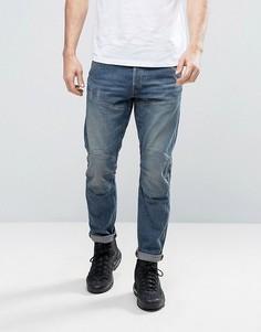 Выбеленные состаренные джинсы узкого кроя G-Star 5620 3D - Синий