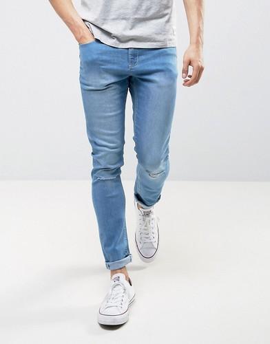 Рваные джинсы с напылением LDN DNM - Синий