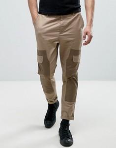Суженные книзу брюки карго со вставками ASOS - Светло-серый