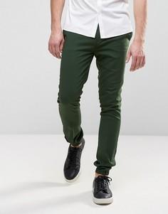 Супероблегающие строгие джоггеры темно-зеленого цвета ASOS - Зеленый