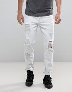 Белые суженные джинсы с прорехами ASOS - Белый