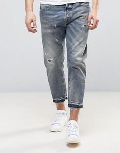 Укороченные узкие джинсы с потертостями Selected Homme - Синий