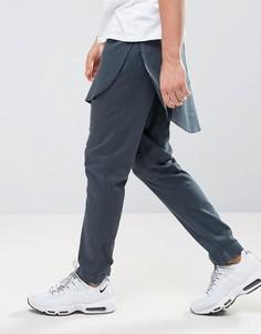 Узкие брюки сине-зеленого цвета с отделкой в стиле рубашки ASOS - Синий