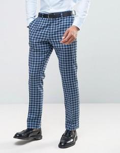 Синие узкие брюки в клетку из 100% шерсти ASOS - Синий