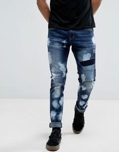 Синие выбеленные джинсы слим Liquor & Poker - Синий