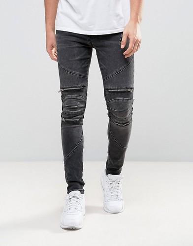 Черные байкерские джинсы скинни с потертостями New Look - Черный