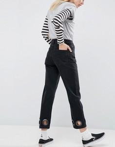 Черные выбеленные джинсы прямого кроя с большими люверсами ASOS FLORENCE - Черный