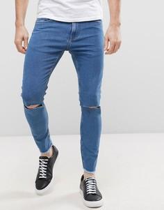Укороченные джинсы скинни с рваными коленками и необработанным краем Only & Sons - Синий