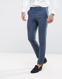 Премиум-брюки зауженного кроя в клетку Jack & Jones - Синий