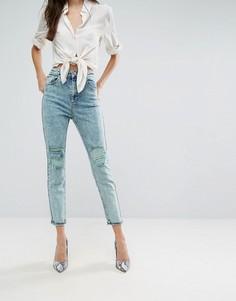 Рваные узкие джинсы в винтажном стиле ASOS FARLEIGH - Зеленый
