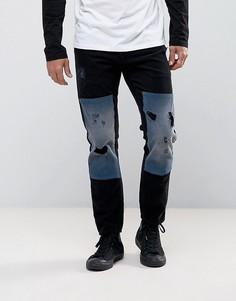 Черные узкие вельветовые джинсы с рваной отделкой и накладками ASOS - Черный