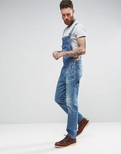 Светло-синий джинсовый комбинезон с карманом в стиле ретро ASOS - Синий