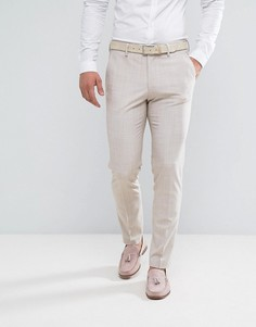 Желтовато-серые брюки зауженного кроя с узором в виде штриховки ASOS Wedding - Серый