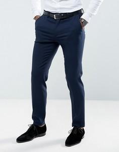 Темно-синие зауженные брюки с фактурной отделкой ASOS Wedding - Темно-синий