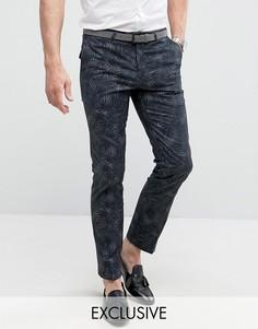 Супероблегающие строгие брюки с принтом Noose & Monkey - Серый