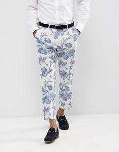 Облегающие брюки с цветочным принтом ASOS Wedding - Синий