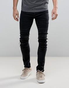 Черные байкерские джинсы скинни с прорехами ASOS - Черный