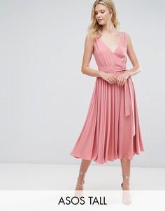 Платье миди с бантом ASOS TALL WEDDING - Розовый