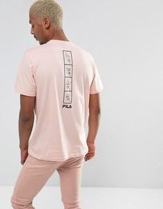 Розовая футболка с принтом на спине Fila - Розовый