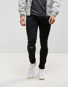 Черные джинсы с напылением и рваными коленями LDN DNM - Черный